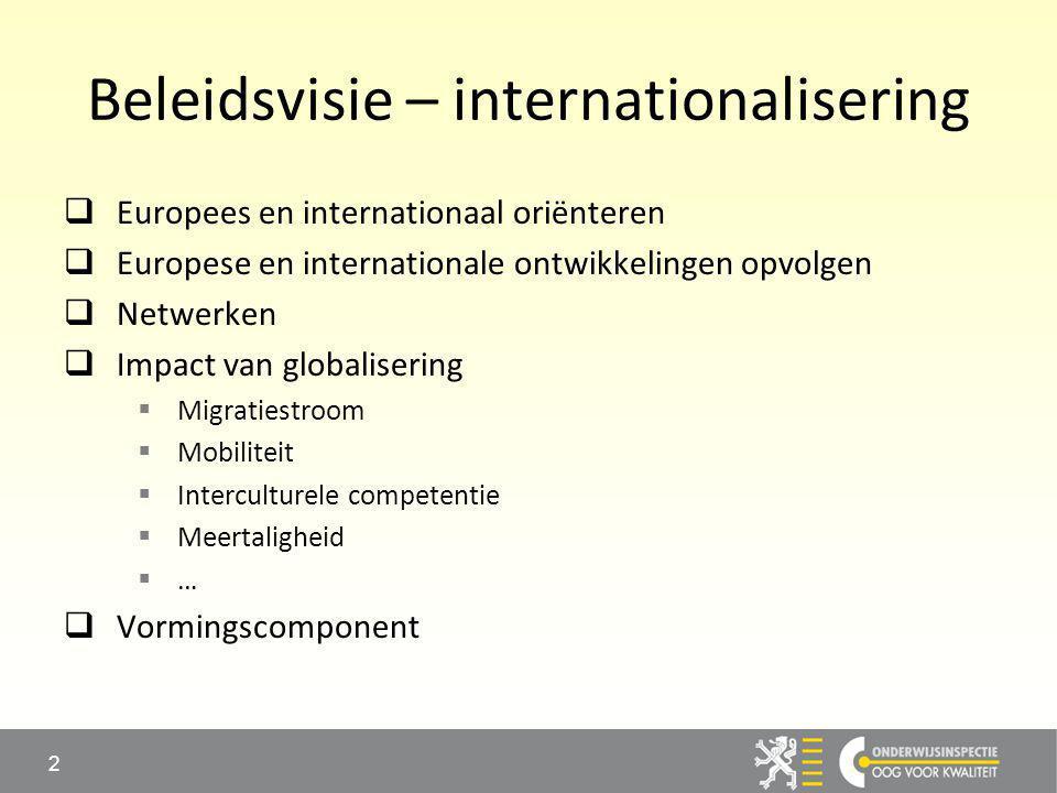 Beleidsvisie – internationalisering  Europees en internationaal oriënteren  Europese en internationale ontwikkelingen opvolgen  Netwerken  Impact van globalisering  Migratiestroom  Mobiliteit  Interculturele competentie  Meertaligheid  …  Vormingscomponent 2