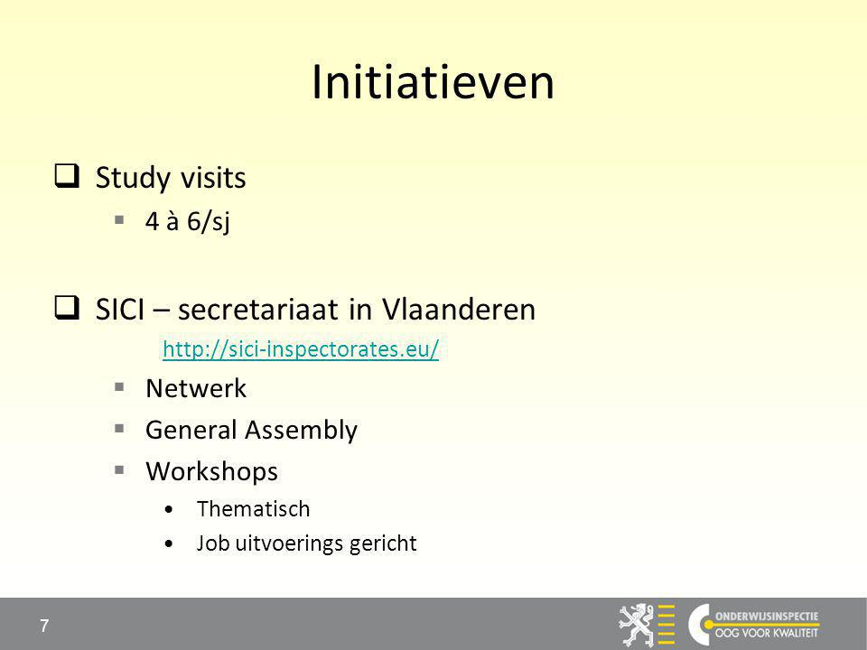 Initiatieven  Study visits  4 à 6/sj  SICI – secretariaat in Vlaanderen http://sici-inspectorates.eu/  Netwerk  General Assembly  Workshops Thematisch Job uitvoerings gericht 7
