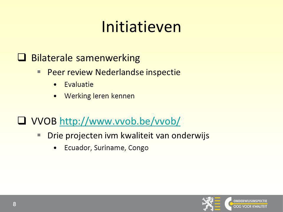 Initiatieven  Bilaterale samenwerking  Peer review Nederlandse inspectie Evaluatie Werking leren kennen  VVOB http://www.vvob.be/vvob/http://www.vvob.be/vvob/  Drie projecten ivm kwaliteit van onderwijs Ecuador, Suriname, Congo 8