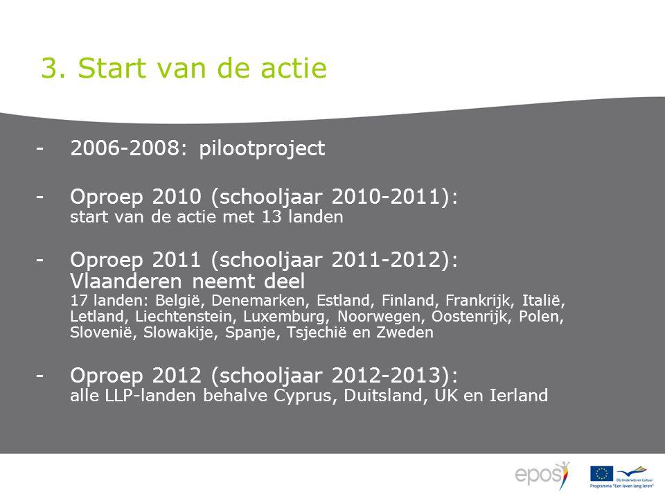 3. Start van de actie -2006-2008: pilootproject -Oproep 2010 (schooljaar 2010-2011): start van de actie met 13 landen -Oproep 2011 (schooljaar 2011-20
