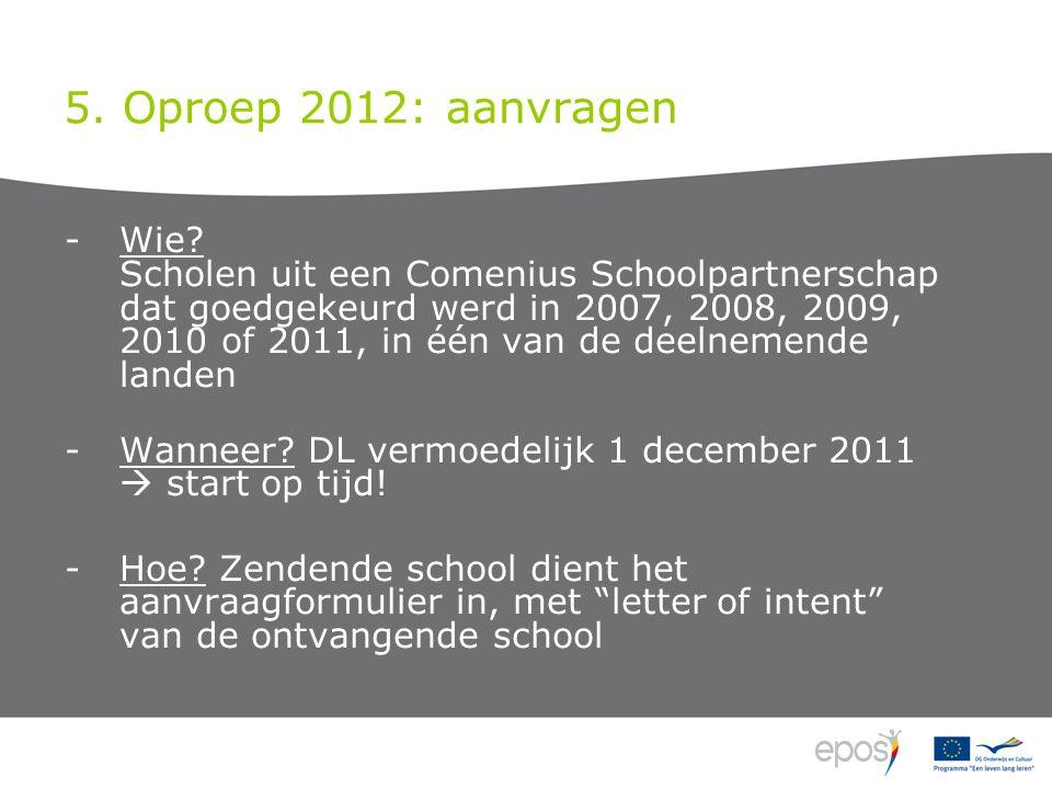 5. Oproep 2012: aanvragen -Wie? Scholen uit een Comenius Schoolpartnerschap dat goedgekeurd werd in 2007, 2008, 2009, 2010 of 2011, in één van de deel