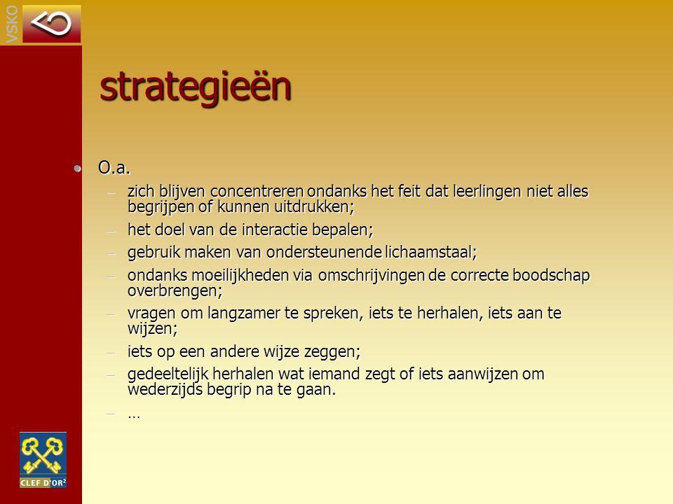strategieën O.a.O.a. – zich blijven concentreren ondanks het feit dat leerlingen niet alles begrijpen of kunnen uitdrukken; – het doel van de interact