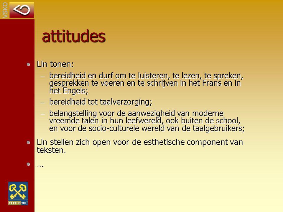 attitudes Lln tonen:Lln tonen: – bereidheid en durf om te luisteren, te lezen, te spreken, gesprekken te voeren en te schrijven in het Frans en in het