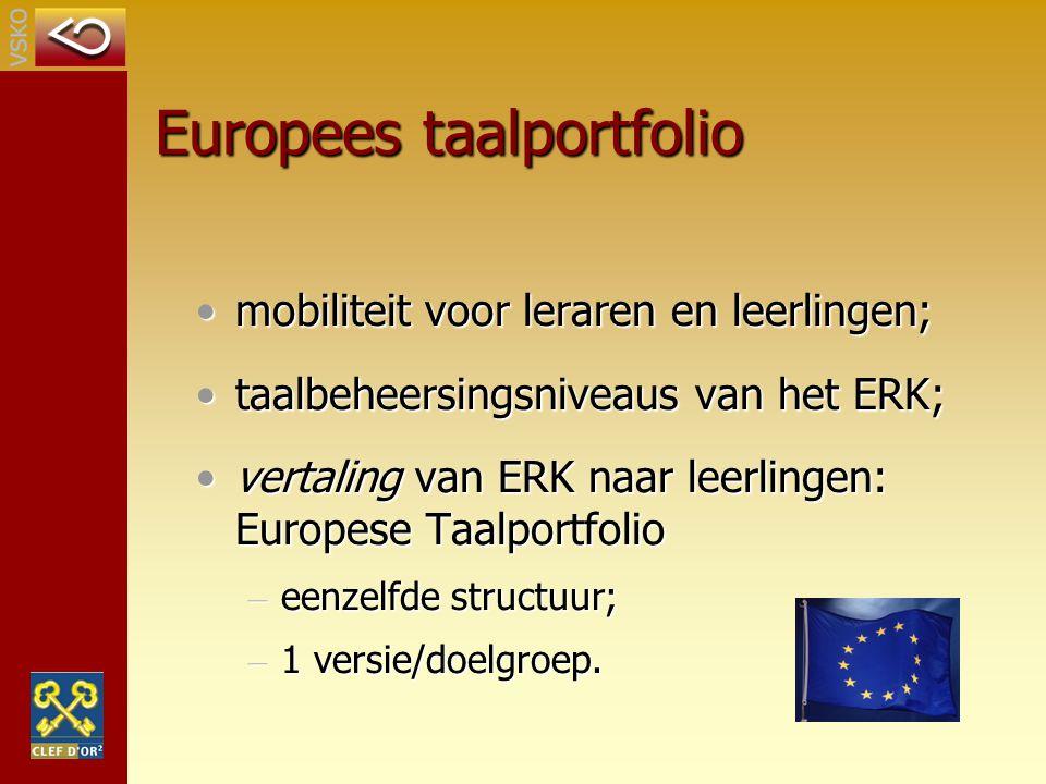 Europees taalportfolio mobiliteit voor leraren en leerlingen;mobiliteit voor leraren en leerlingen; taalbeheersingsniveaus van het ERK;taalbeheersings