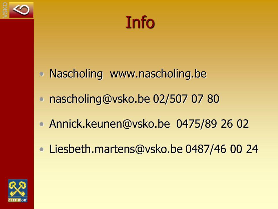 Info Nascholing www.nascholing.beNascholing www.nascholing.be nascholing@vsko.be 02/507 07 80nascholing@vsko.be 02/507 07 80 Annick.keunen@vsko.be 047
