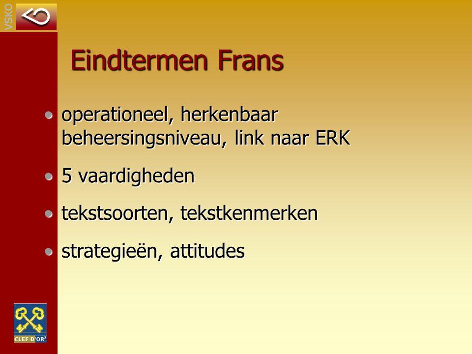 Eindtermen Frans operationeel, herkenbaar beheersingsniveau, link naar ERKoperationeel, herkenbaar beheersingsniveau, link naar ERK 5 vaardigheden5 va