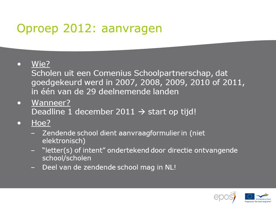 Oproep 2012: aanvragen Wie? Scholen uit een Comenius Schoolpartnerschap, dat goedgekeurd werd in 2007, 2008, 2009, 2010 of 2011, in één van de 29 deel