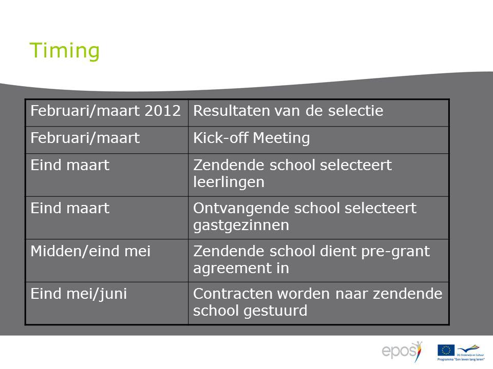 Timing Februari/maart 2012Resultaten van de selectie Februari/maartKick-off Meeting Eind maartZendende school selecteert leerlingen Eind maartOntvange
