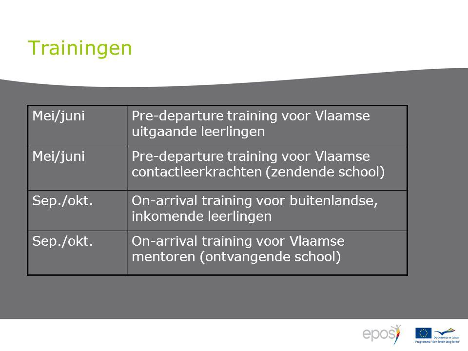 Trainingen Mei/juniPre-departure training voor Vlaamse uitgaande leerlingen Mei/juniPre-departure training voor Vlaamse contactleerkrachten (zendende