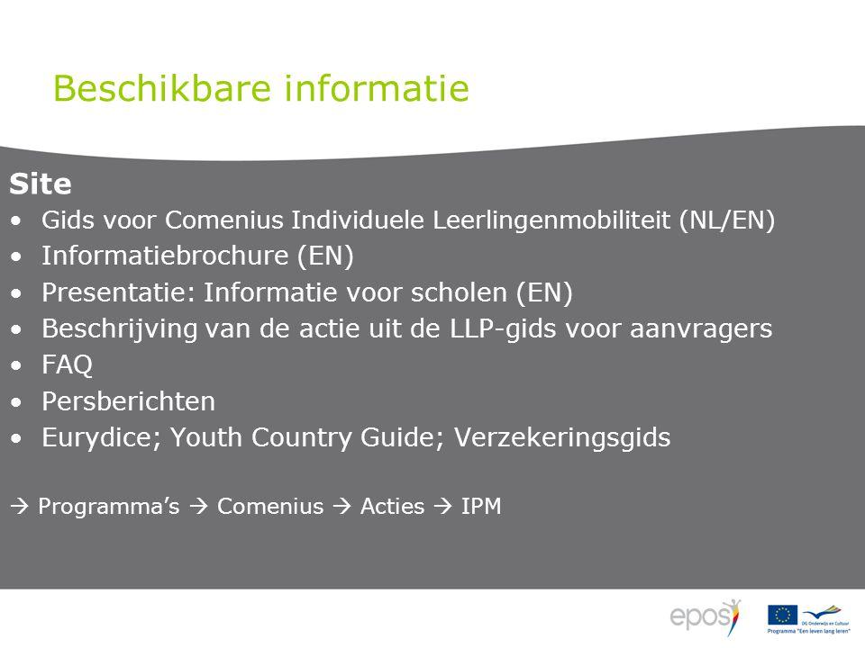 Beschikbare informatie Site Gids voor Comenius Individuele Leerlingenmobiliteit (NL/EN) Informatiebrochure (EN) Presentatie: Informatie voor scholen (EN) Beschrijving van de actie uit de LLP-gids voor aanvragers FAQ Persberichten Eurydice; Youth Country Guide; Verzekeringsgids  Programma's  Comenius  Acties  IPM