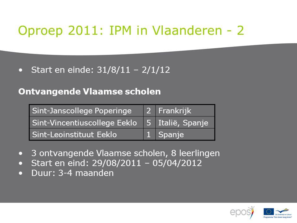 Oproep 2011: IPM in Vlaanderen - 2 Start en einde: 31/8/11 – 2/1/12 Ontvangende Vlaamse scholen 3 ontvangende Vlaamse scholen, 8 leerlingen Start en e