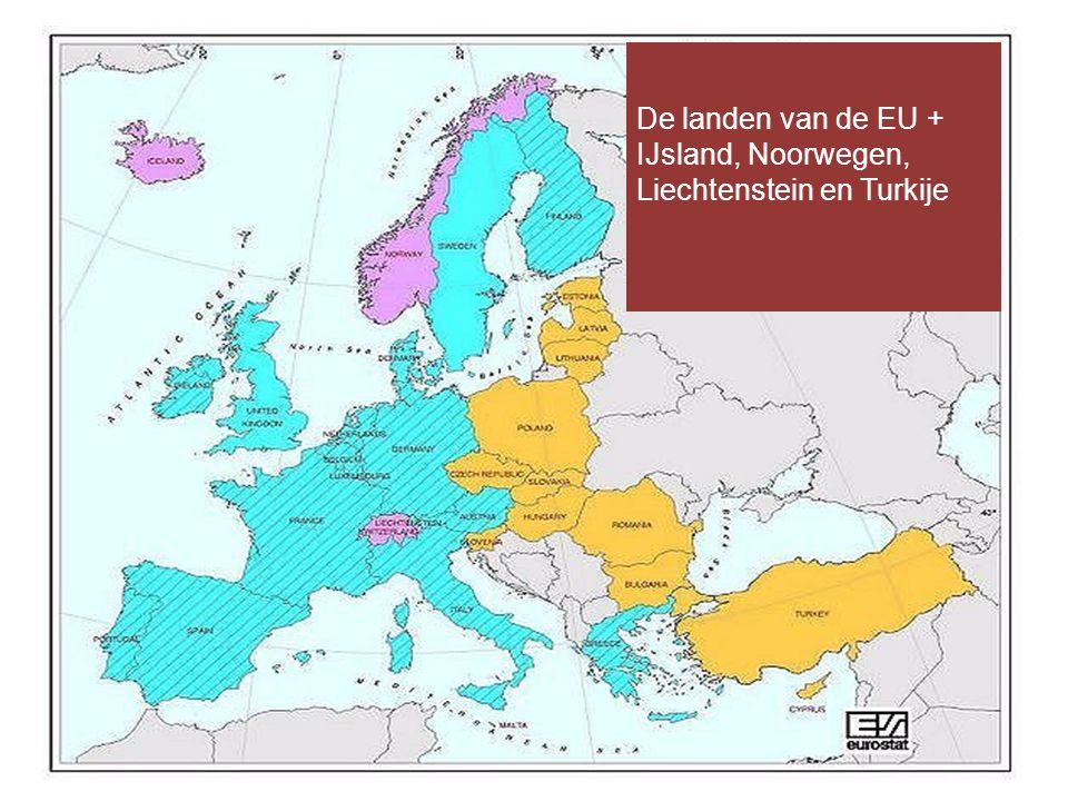 De landen van de EU + IJsland, Noorwegen, Liechtenstein en Turkije