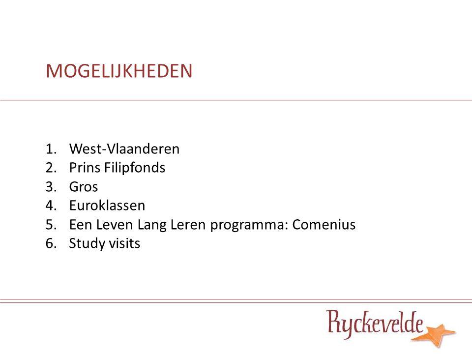 1.West-Vlaanderen 2.Prins Filipfonds 3.Gros 4.Euroklassen 5.Een Leven Lang Leren programma: Comenius 6.Study visits MOGELIJKHEDEN