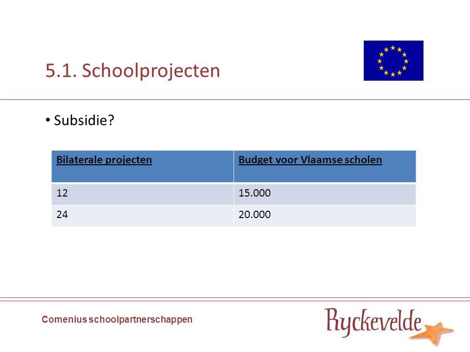 5.1. Schoolprojecten Comenius schoolpartnerschappen Subsidie? Bilaterale projectenBudget voor Vlaamse scholen 1215.000 2420.000