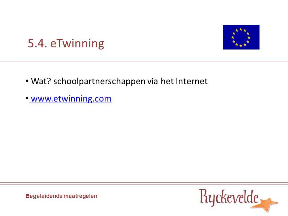 5.4. eTwinning Wat? schoolpartnerschappen via het Internet www.etwinning.com Begeleidende maatregelen