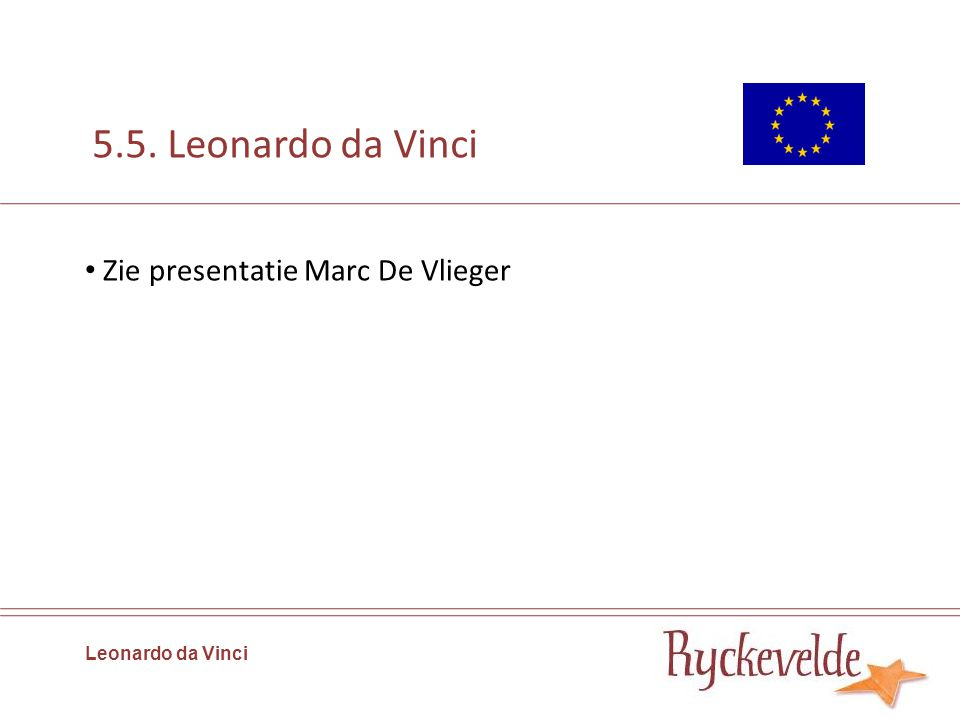 5.5. Leonardo da Vinci Zie presentatie Marc De Vlieger Leonardo da Vinci