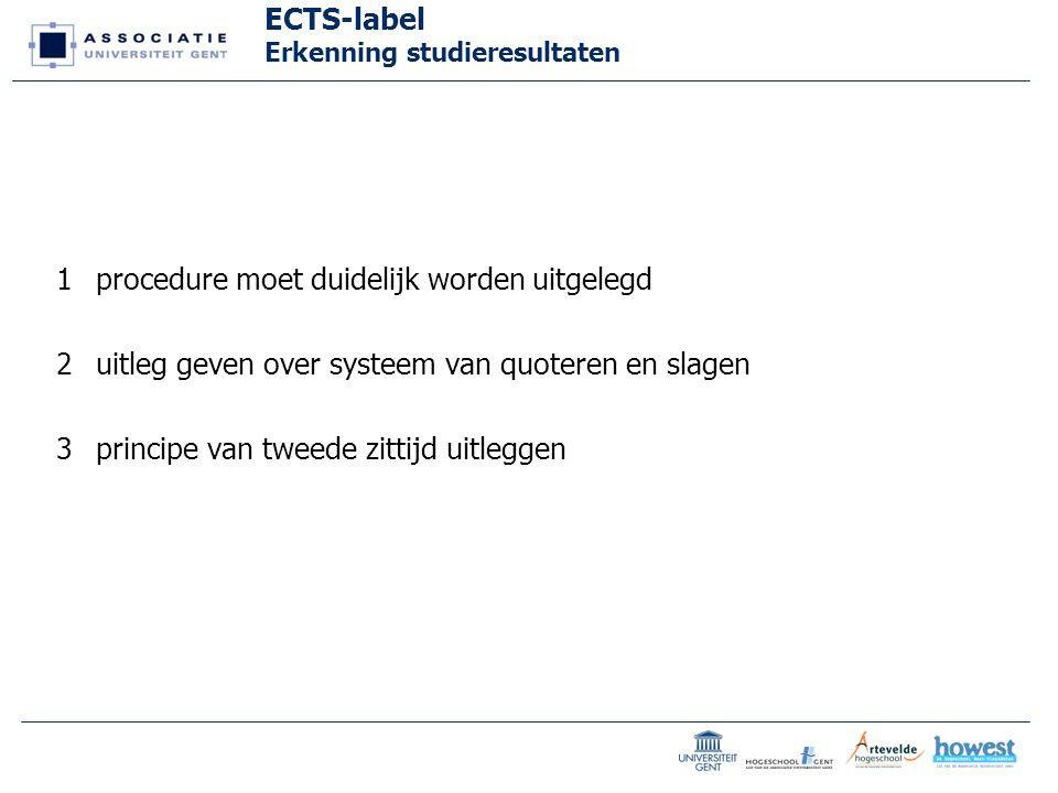 ECTS-label Erkenning studieresultaten 1procedure moet duidelijk worden uitgelegd 2uitleg geven over systeem van quoteren en slagen 3principe van tweede zittijd uitleggen