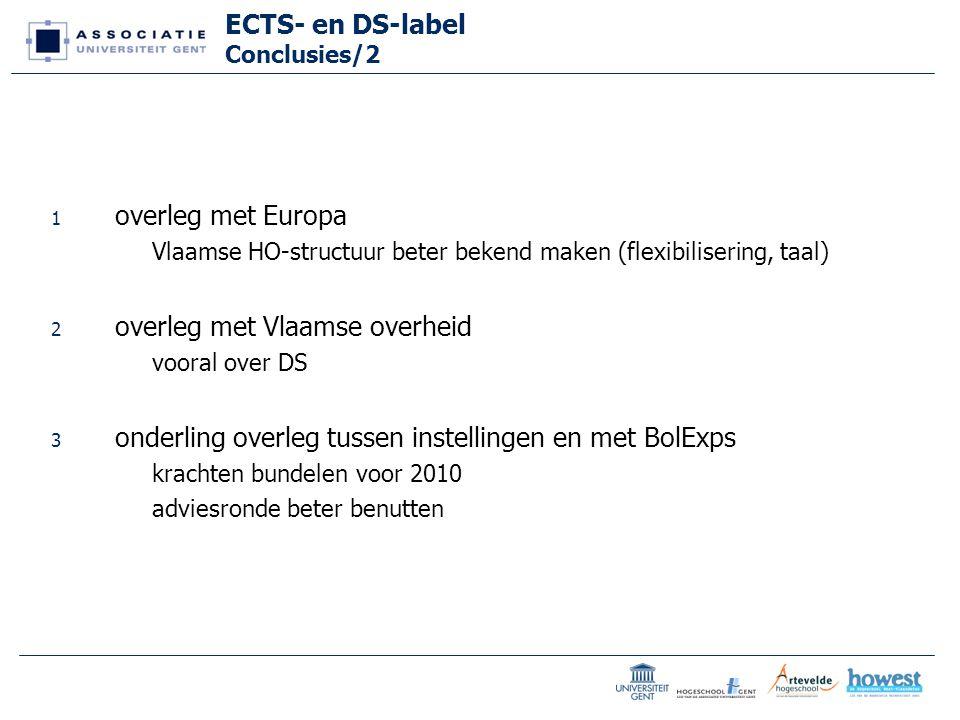 ECTS- en DS-label Conclusies/2 1 overleg met Europa Vlaamse HO-structuur beter bekend maken (flexibilisering, taal) 2 overleg met Vlaamse overheid vooral over DS 3 onderling overleg tussen instellingen en met BolExps krachten bundelen voor 2010 adviesronde beter benutten