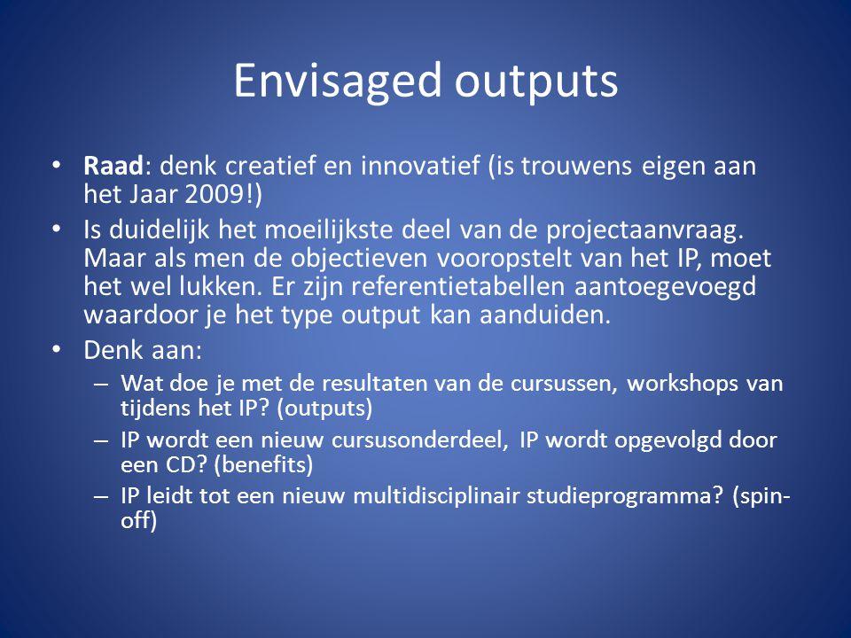 Envisaged outputs Raad: denk creatief en innovatief (is trouwens eigen aan het Jaar 2009!) Is duidelijk het moeilijkste deel van de projectaanvraag. M