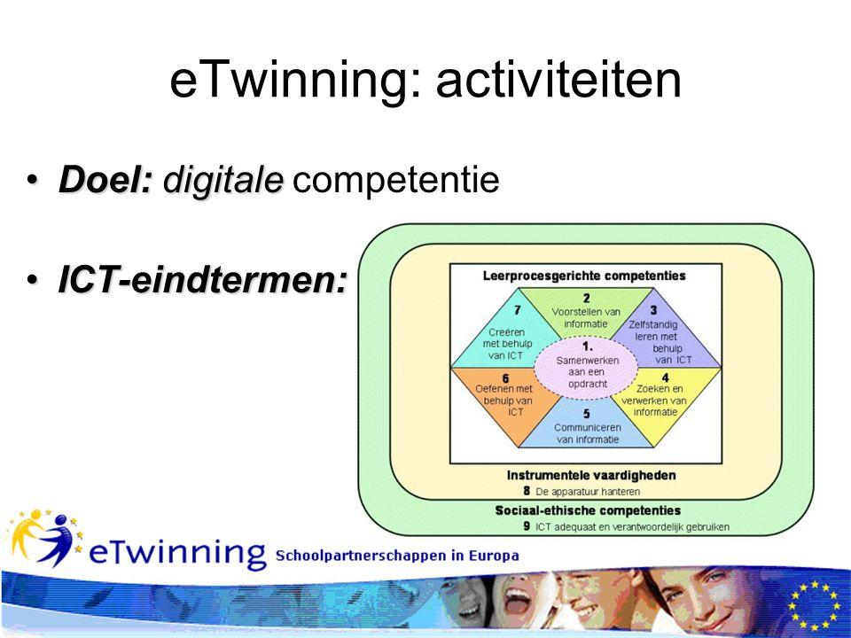 eTwinning: activiteiten Doel:digitaleDoel: digitale competentie ICT-eindtermen:ICT-eindtermen: