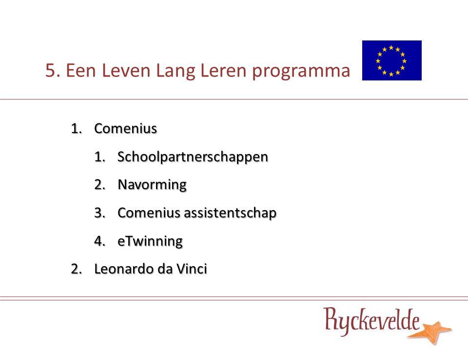 5. Een Leven Lang Leren programma 1.Comenius 1.Schoolpartnerschappen 2.Navorming 3.Comenius assistentschap 4.eTwinning 2.Leonardo da Vinci