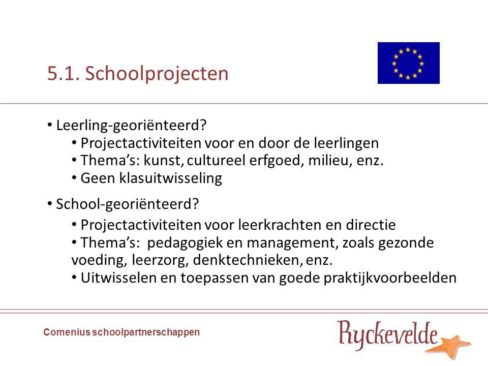 5.1. Schoolprojecten Comenius schoolpartnerschappen Leerling-georiënteerd? Projectactiviteiten voor en door de leerlingen Thema's: kunst, cultureel er