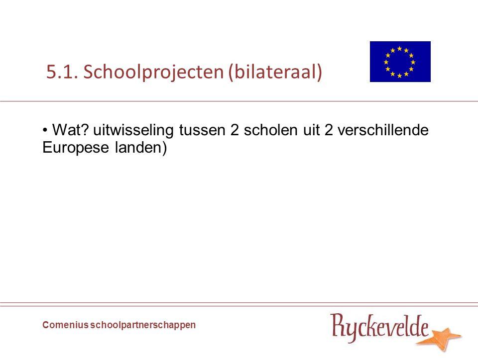 5.1. Schoolprojecten (bilateraal) Wat? uitwisseling tussen 2 scholen uit 2 verschillende Europese landen) Comenius schoolpartnerschappen