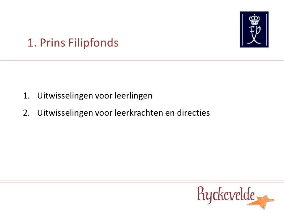 1.Uitwisselingen voor leerlingen 2.Uitwisselingen voor leerkrachten en directies 1. Prins Filipfonds