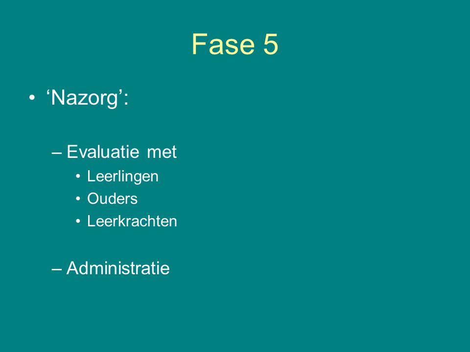 Fase 5 'Nazorg': –Evaluatie met Leerlingen Ouders Leerkrachten –Administratie