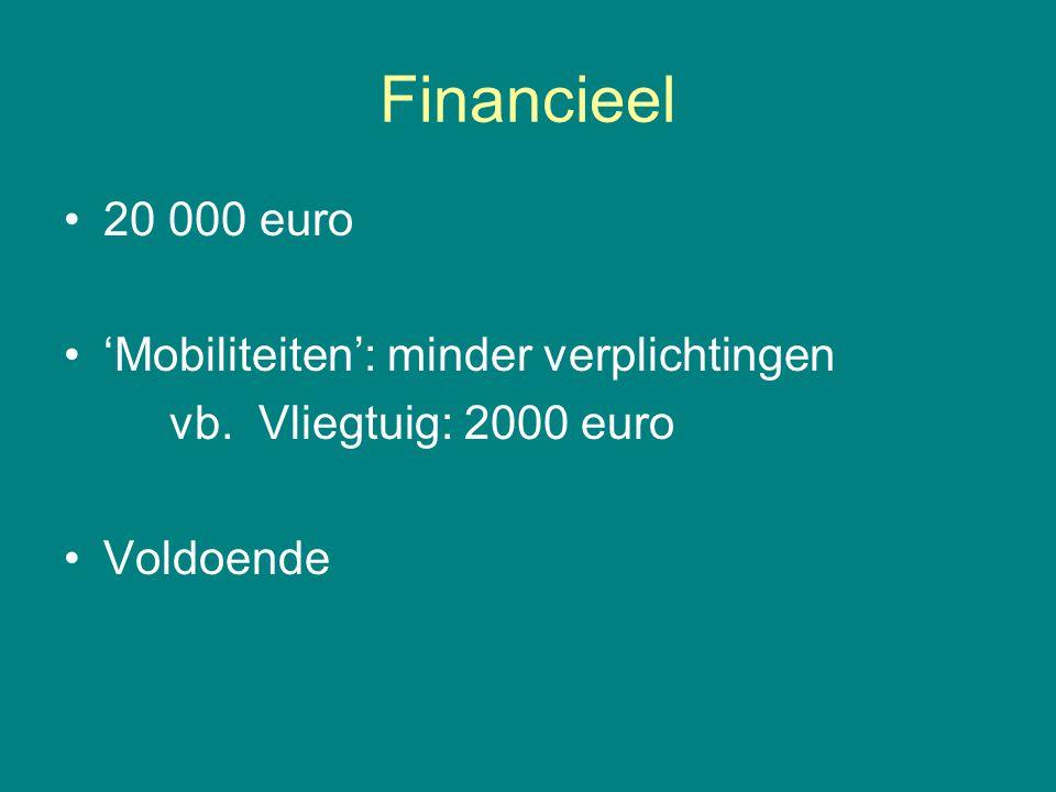 Financieel 20 000 euro 'Mobiliteiten': minder verplichtingen vb. Vliegtuig: 2000 euro Voldoende