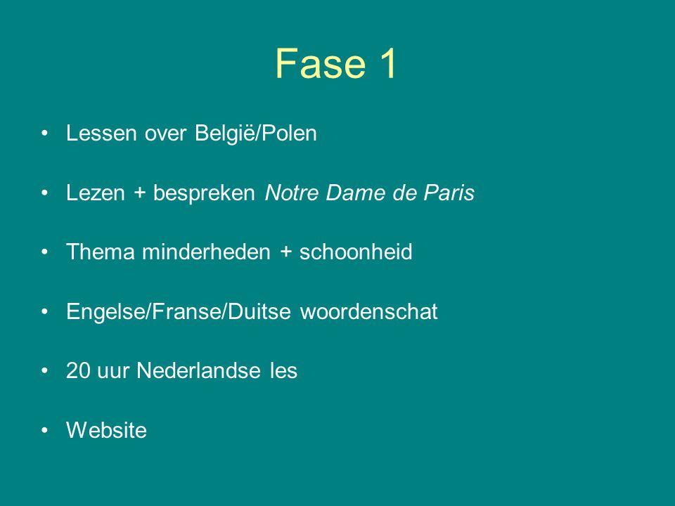 Fase 1 Lessen over België/Polen Lezen + bespreken Notre Dame de Paris Thema minderheden + schoonheid Engelse/Franse/Duitse woordenschat 20 uur Nederlandse les Website