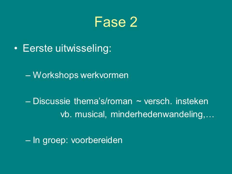 Fase 3 Contact houden: –Elke groep: contract 'wie doet wat?' –Video conference –Website Nieuwe ideeën opdoen Teacher meeting: evaluatie en voorbereiding 20 uur Poolse les
