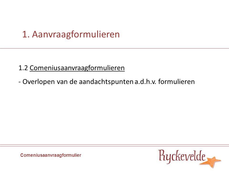 1.2 Comeniusaanvraagformulieren - Overlopen van de aandachtspunten a.d.h.v.