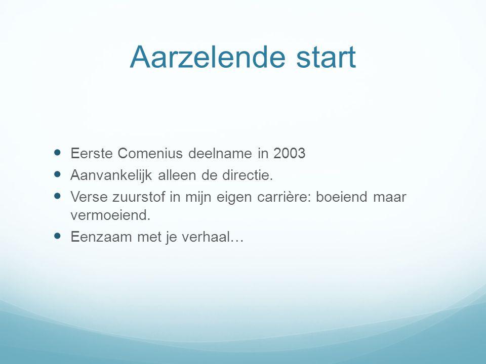 Aarzelende start Eerste Comenius deelname in 2003 Aanvankelijk alleen de directie. Verse zuurstof in mijn eigen carrière: boeiend maar vermoeiend. Een