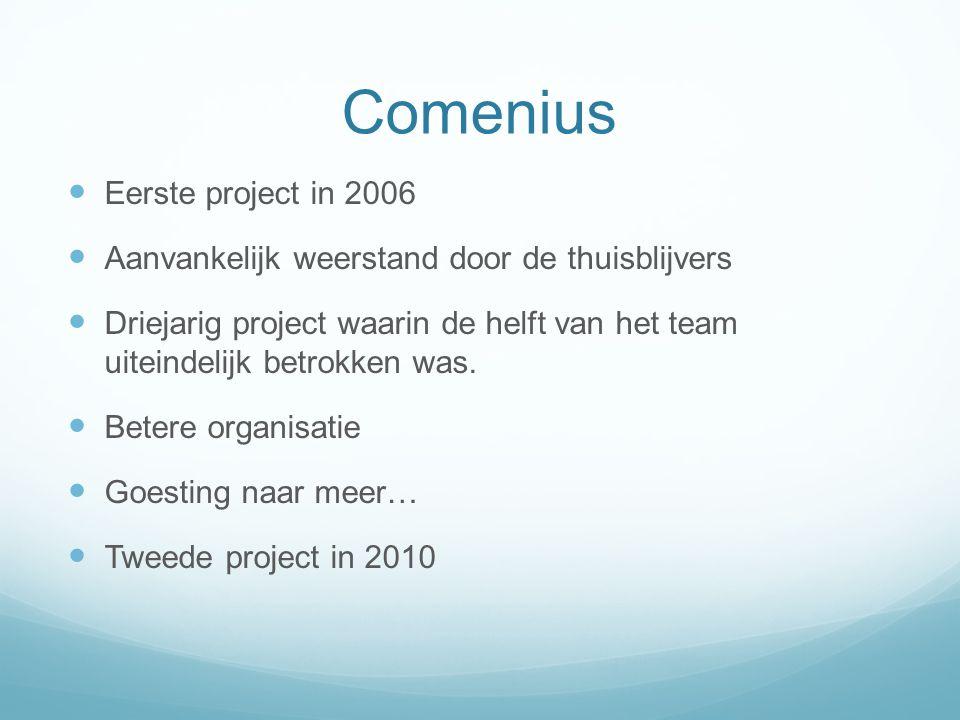 Comenius Eerste project in 2006 Aanvankelijk weerstand door de thuisblijvers Driejarig project waarin de helft van het team uiteindelijk betrokken was
