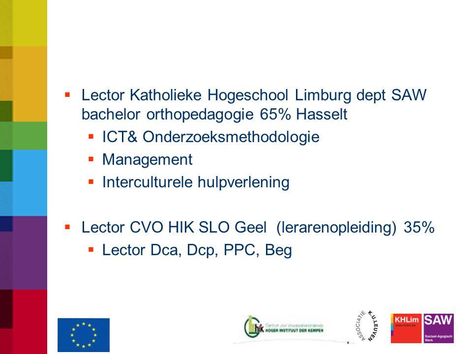  Lector Katholieke Hogeschool Limburg dept SAW bachelor orthopedagogie 65% Hasselt  ICT& Onderzoeksmethodologie  Management  Interculturele hulpverlening  Lector CVO HIK SLO Geel (lerarenopleiding) 35%  Lector Dca, Dcp, PPC, Beg