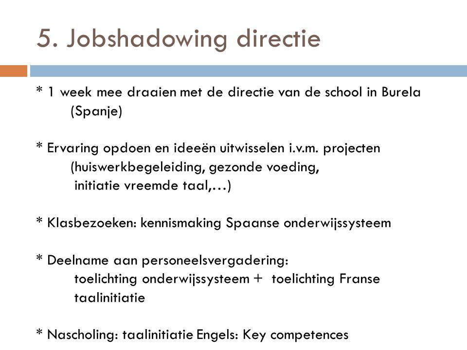 5. Jobshadowing directie * 1 week mee draaien met de directie van de school in Burela (Spanje) * Ervaring opdoen en ideeën uitwisselen i.v.m. projecte