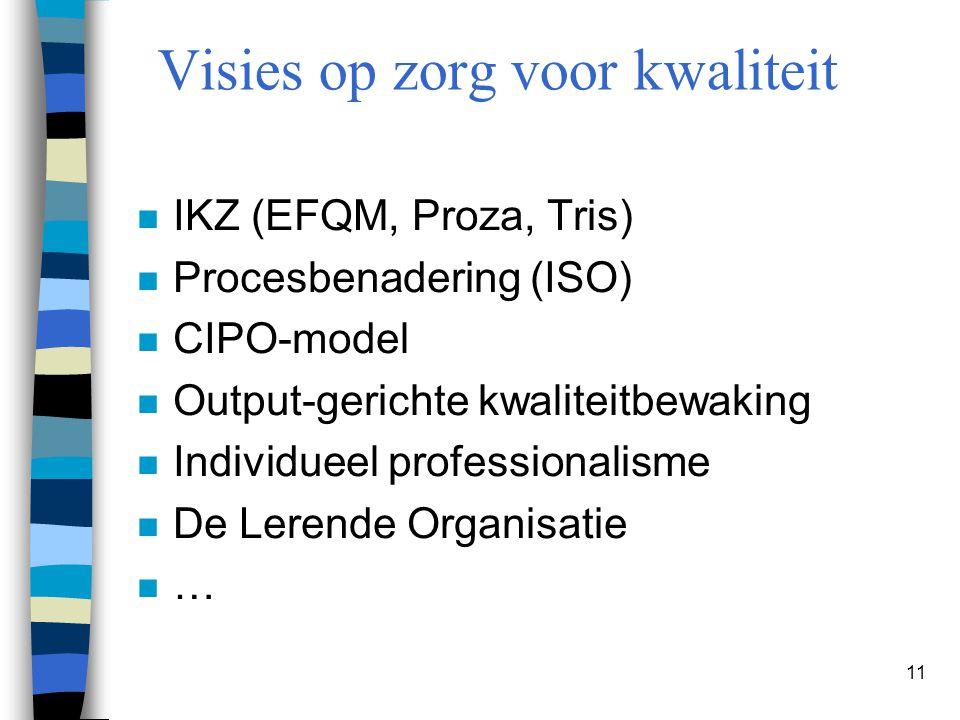 11 n IKZ (EFQM, Proza, Tris) n Procesbenadering (ISO) n CIPO-model n Output-gerichte kwaliteitbewaking n Individueel professionalisme n De Lerende Org