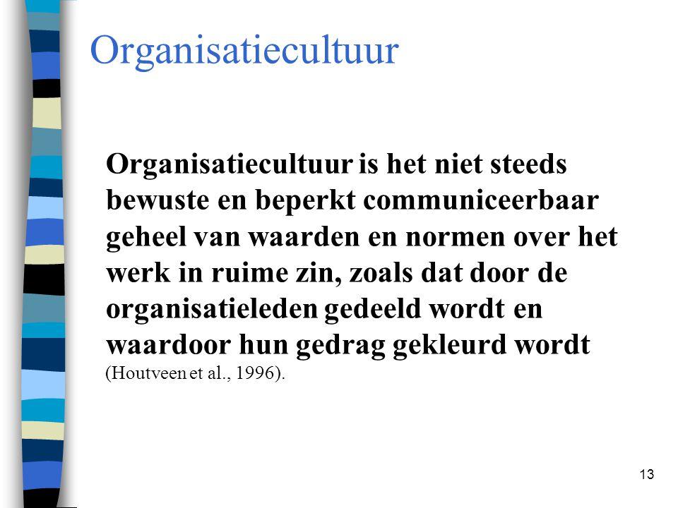 13 Organisatiecultuur Organisatiecultuur is het niet steeds bewuste en beperkt communiceerbaar geheel van waarden en normen over het werk in ruime zin