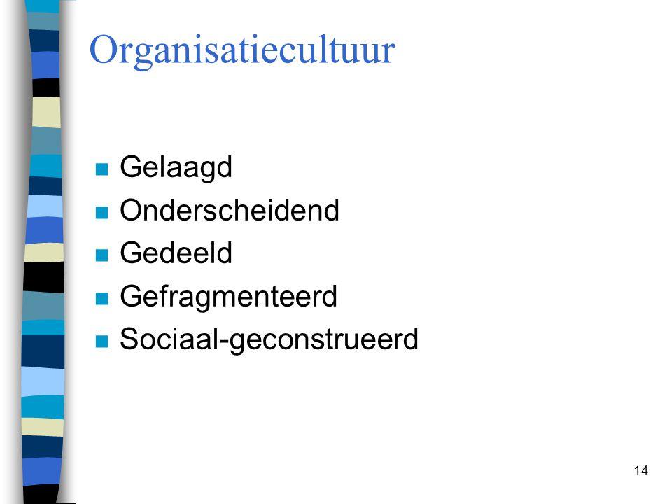 14 Organisatiecultuur n Gelaagd n Onderscheidend n Gedeeld n Gefragmenteerd n Sociaal-geconstrueerd