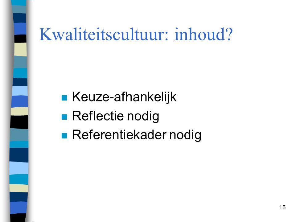 15 n Keuze-afhankelijk n Reflectie nodig n Referentiekader nodig Kwaliteitscultuur: inhoud?