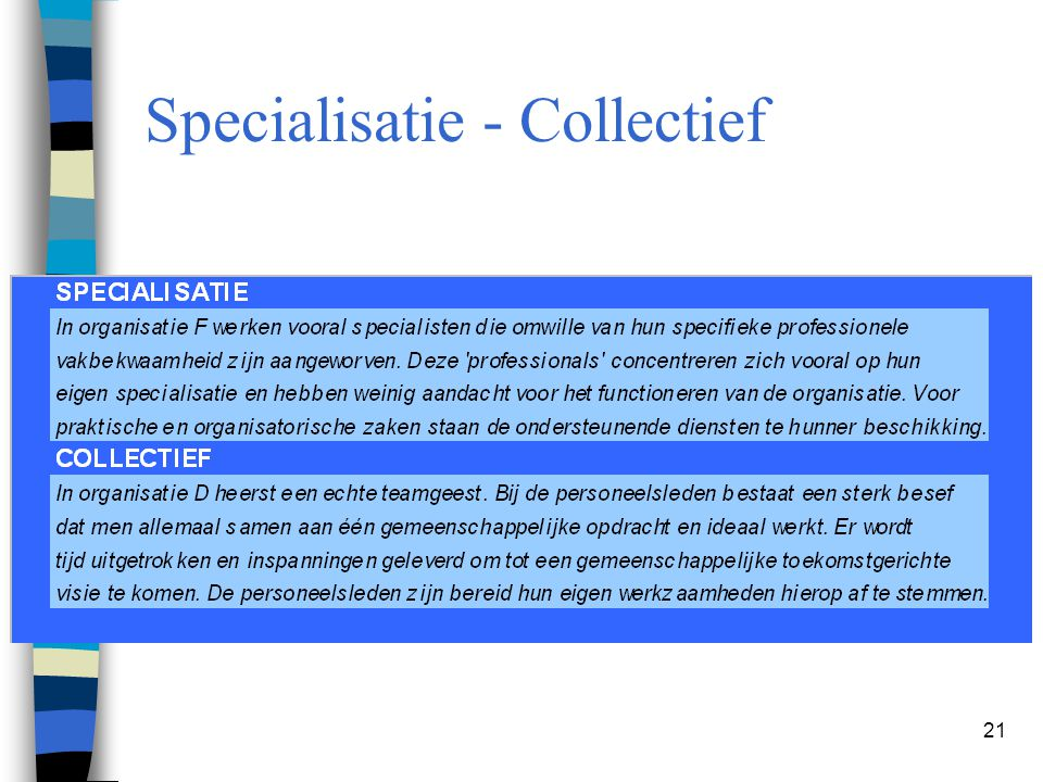 21 Specialisatie - Collectief