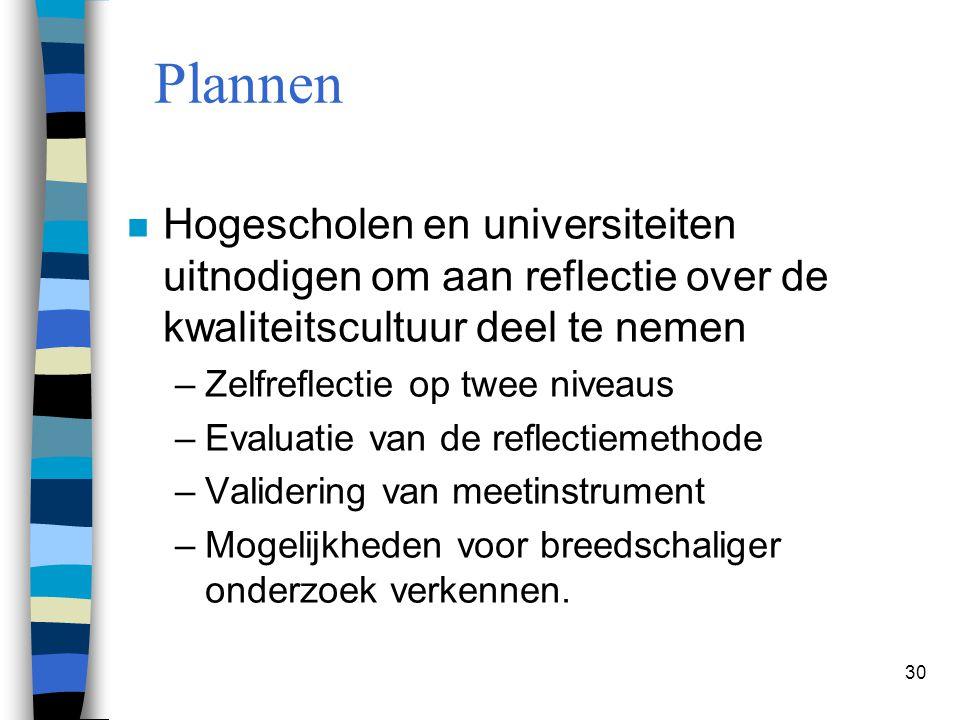 30 Plannen n Hogescholen en universiteiten uitnodigen om aan reflectie over de kwaliteitscultuur deel te nemen –Zelfreflectie op twee niveaus –Evaluat