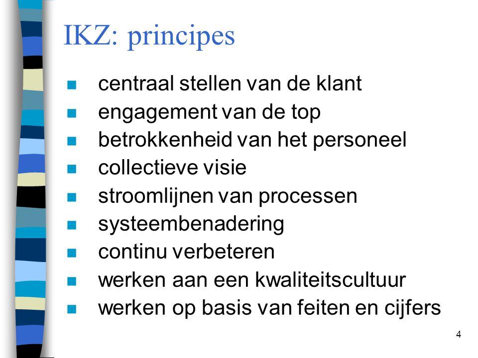 4 IKZ: principes n centraal stellen van de klant n engagement van de top n betrokkenheid van het personeel n collectieve visie n stroomlijnen van proc