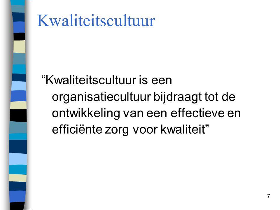 """7 Kwaliteitscultuur """"Kwaliteitscultuur is een organisatiecultuur bijdraagt tot de ontwikkeling van een effectieve en efficiënte zorg voor kwaliteit"""""""