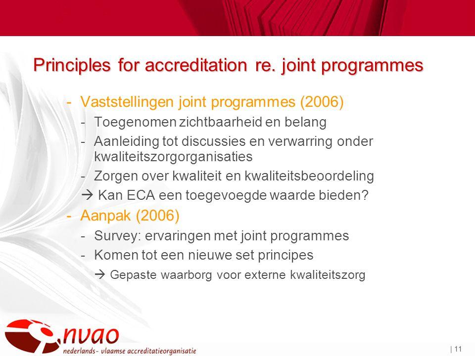 | 11 Principles for accreditation re. joint programmes -Vaststellingen joint programmes (2006) -Toegenomen zichtbaarheid en belang -Aanleiding tot dis