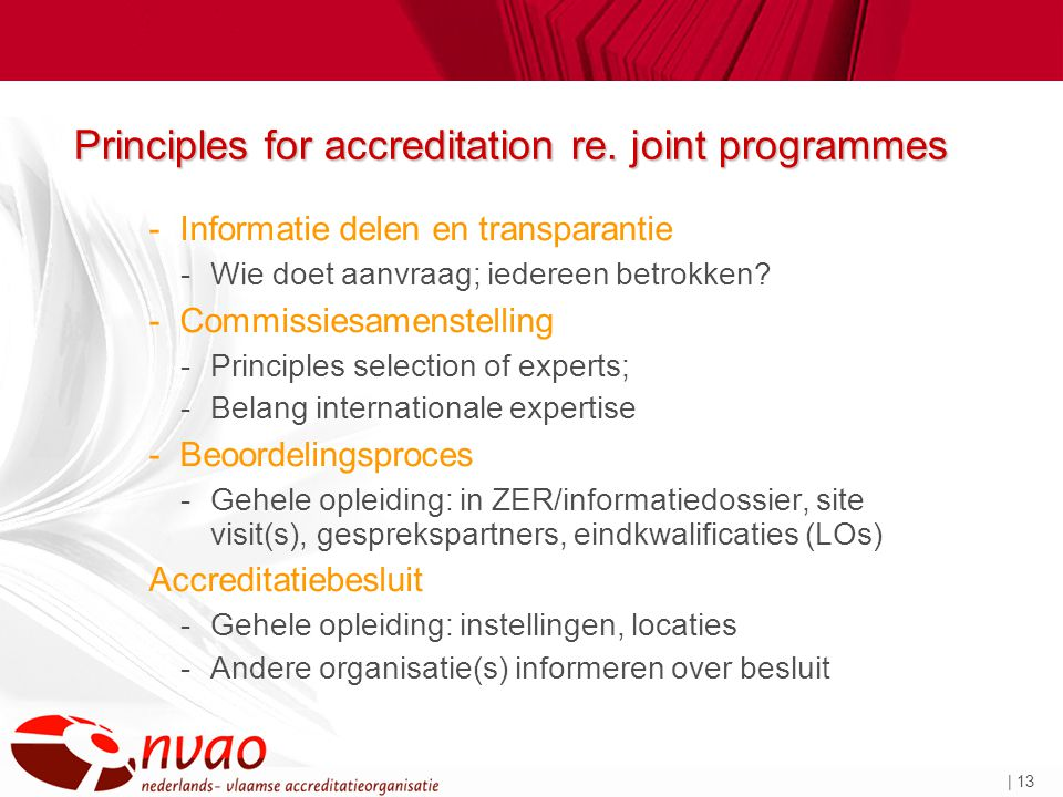 | 13 Principles for accreditation re.