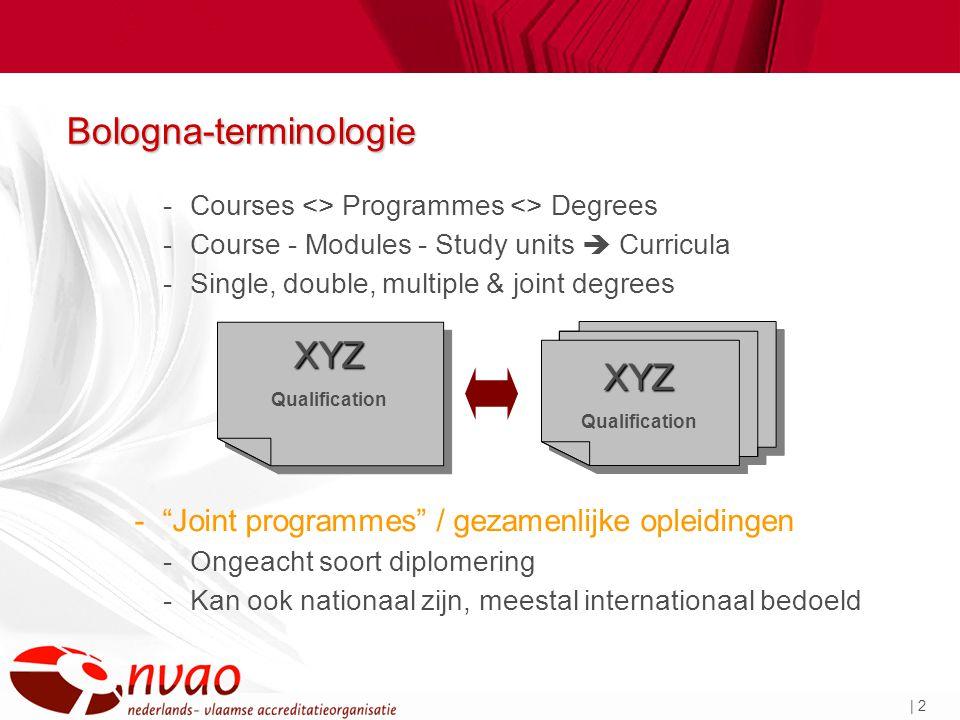 | 2 Bologna-terminologie -Courses <> Programmes <> Degrees -Course - Modules - Study units  Curricula -Single, double, multiple & joint degrees - Joint programmes / gezamenlijke opleidingen -Ongeacht soort diplomering -Kan ook nationaal zijn, meestal internationaal bedoeld XYZ QualificationXYZ XYZ XYZ