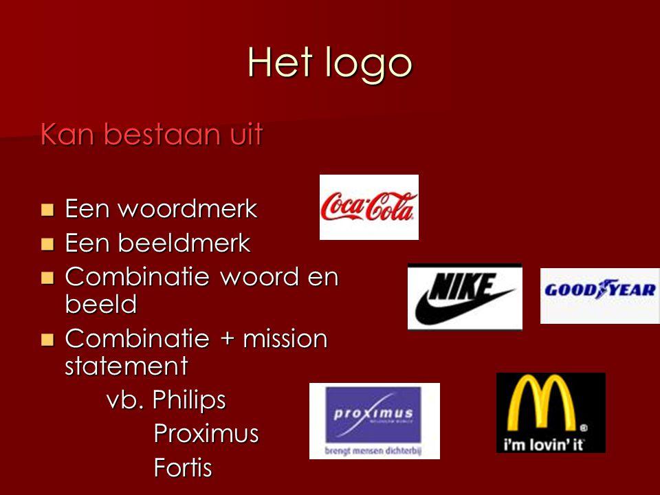 Het logo Kan bestaan uit Een woordmerk Een woordmerk Een beeldmerk Een beeldmerk Combinatie woord en beeld Combinatie woord en beeld Combinatie + miss