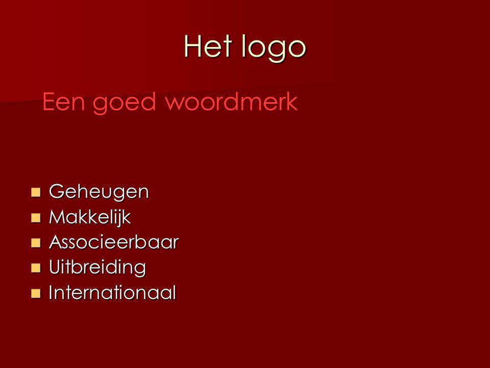 Het logo Soorten woordmerken Eén of meer letters Eén of meer letters Een naam Een naam Picturaal naammerk Picturaal naammerk